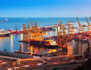 Industrial port de Barcelona in evening. Spain