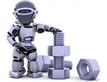 3D render of a robot  with nuts and bolts